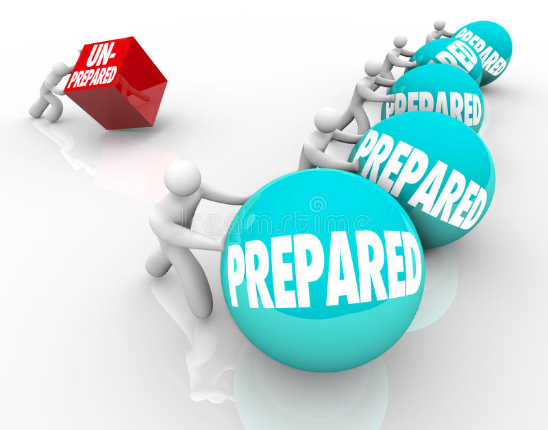 Prepared Vs Unprepared Advantage Ready Unready. Many prepared people with an advantage push their spheres or balls ahead in the race while one unprepared person royalty free illustration