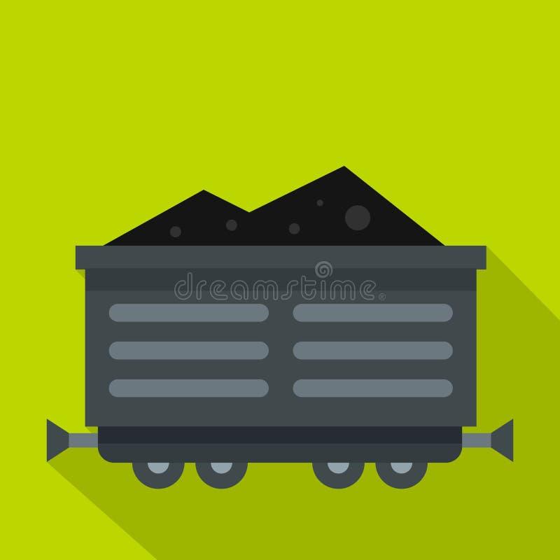 Prepari il vagone con l'icona del carbone, stile piano illustrazione vettoriale