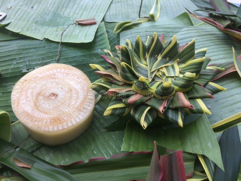 Prepari l'attrezzatura per il montaggio di Krathong per Loy Krathong Festival fotografia stock