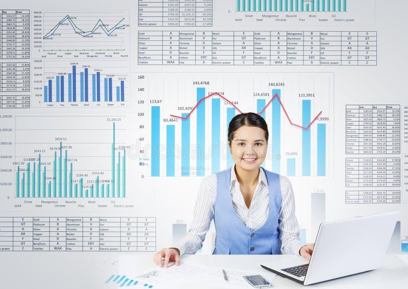 Preparing average report . Mixed media stock image