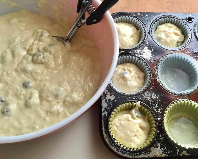 Scooping blueberry muffin batter into cups for baking royalty free stock image