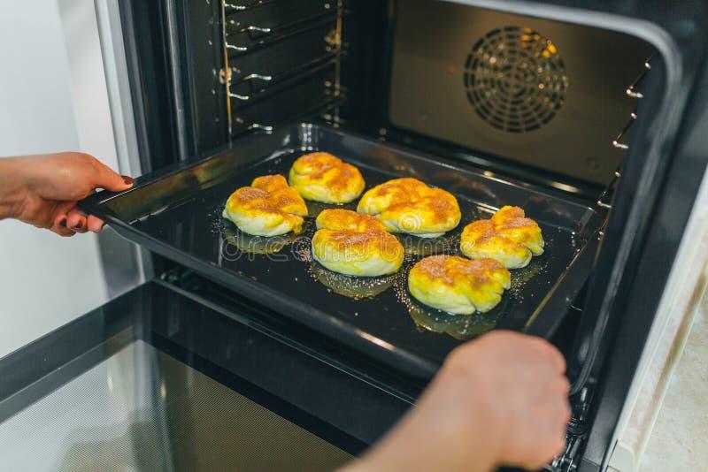 Preparing cake for bake stock image