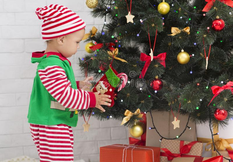 Little Santa helper decorating Xmas tree, side view stock photos