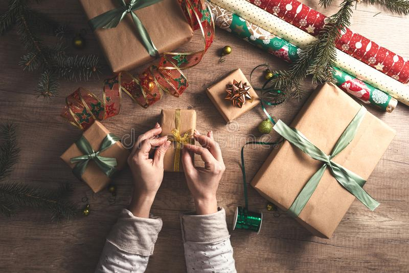 Preparing Christmas present stock photography
