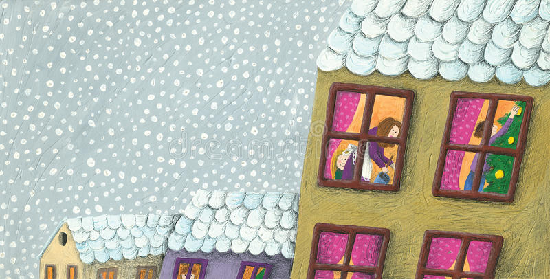 Preparing for Christmas seen through a window stock illustration