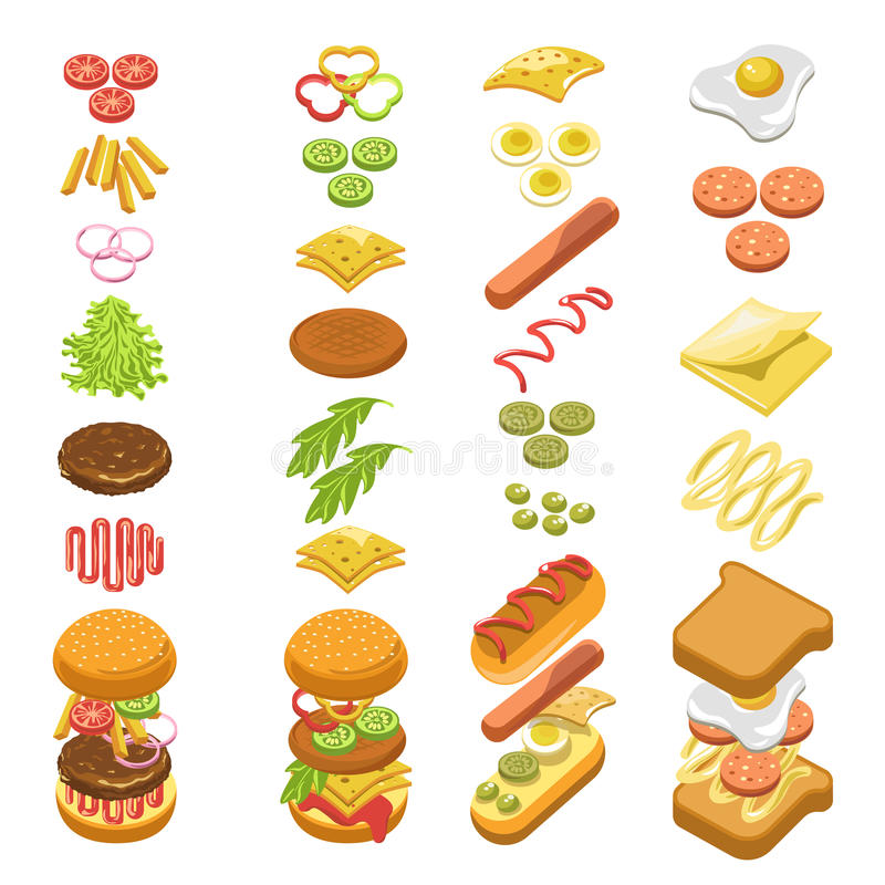 Preparing fast food step by step template colorful poster. Preparing fast food step by step template colorful vector poster in flat design on white. Cooking hot royalty free illustration