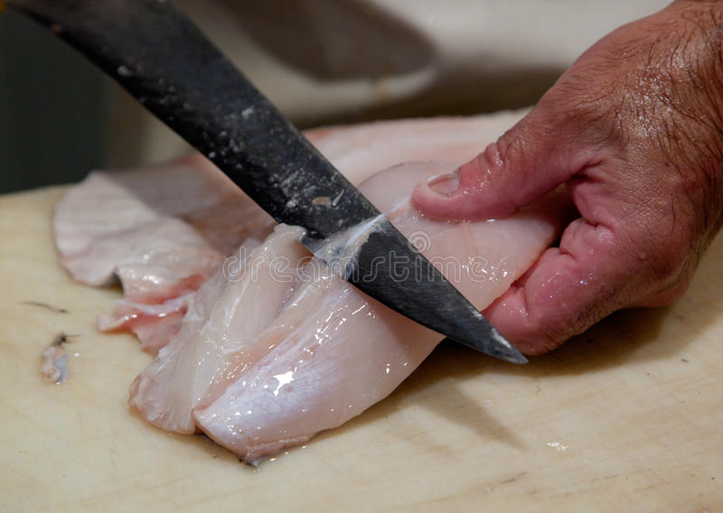 Preparing Fresh Fish Royalty Free Stock Photo