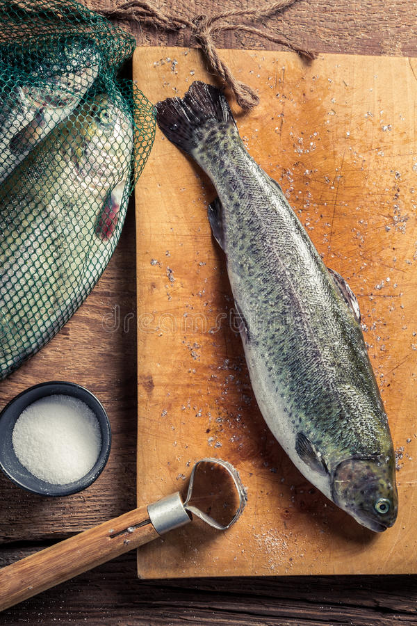 Preparing freshly caught trout royalty free stock photo