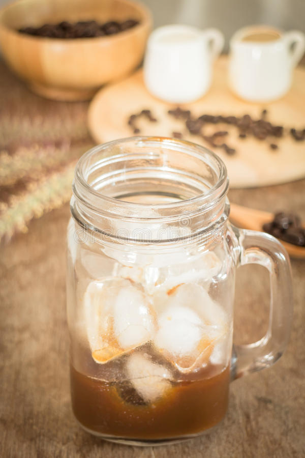 Preparing glass of cold coffee royalty free stock images