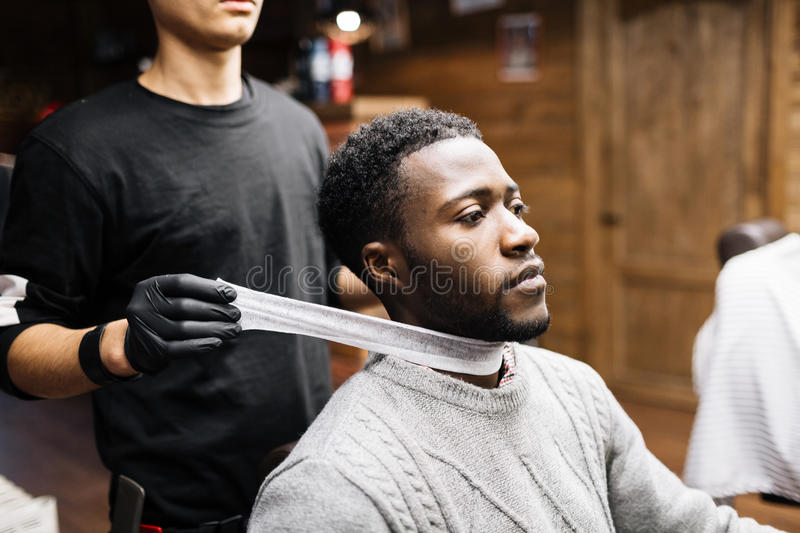 Preparing for haircut stock photography