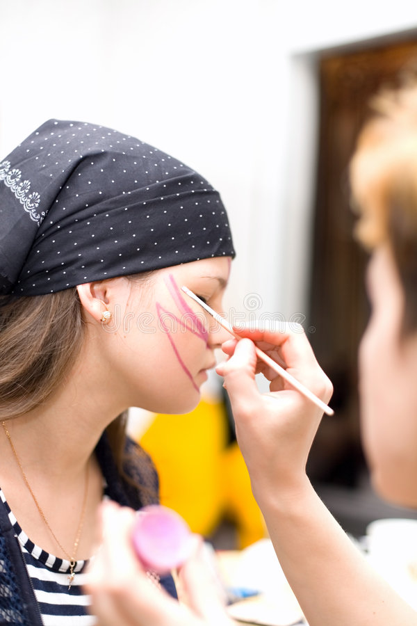 Download Preparing Make Up To Actress Before Scene Stock Image - Image: 4328047