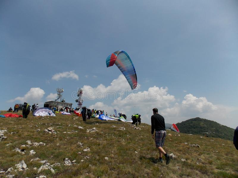 Paragliding cross country competition royalty free stock photography