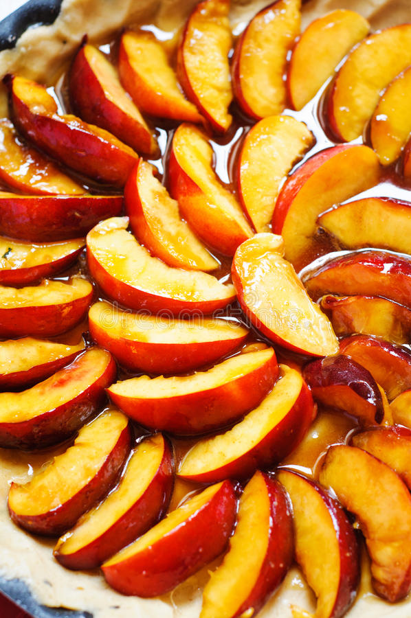 Download Preparing peaches tart stock photo. Image of fruits, dough - 26231998