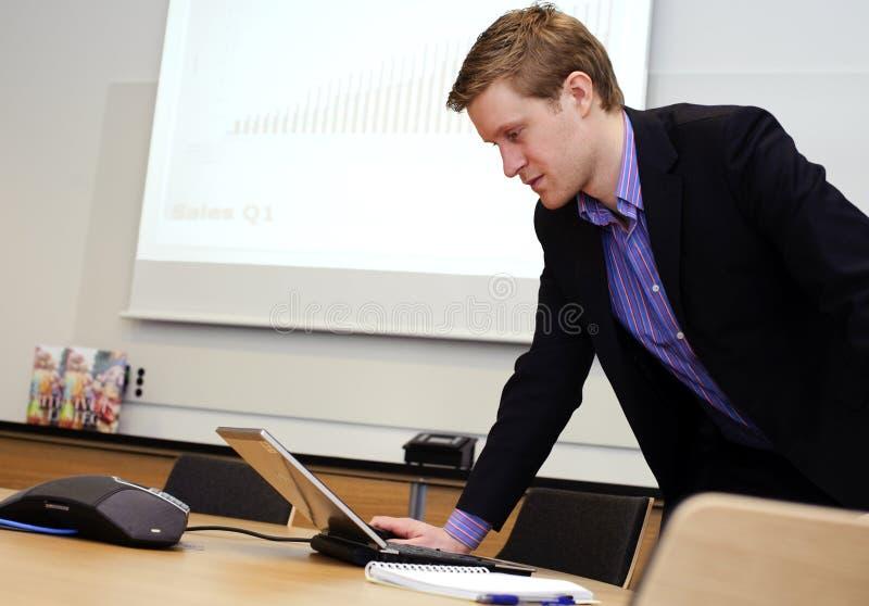 Preparing a presentation. royalty free stock image
