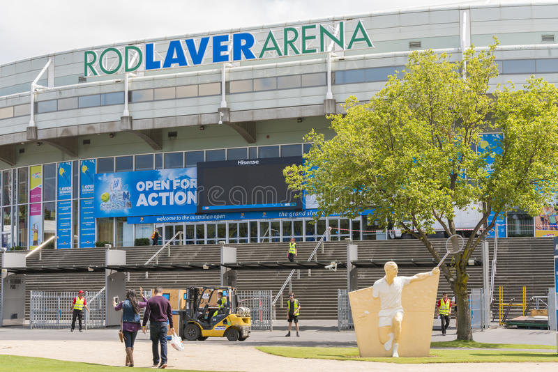 Preparing the Rod Laver Arena for Australian Open royalty free stock images
