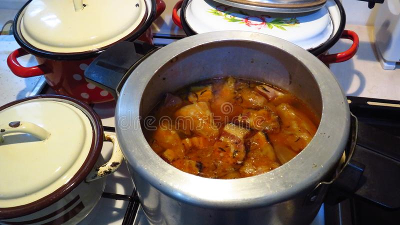 Preparing Romanian Cabbage Rolls Sarmale stock images