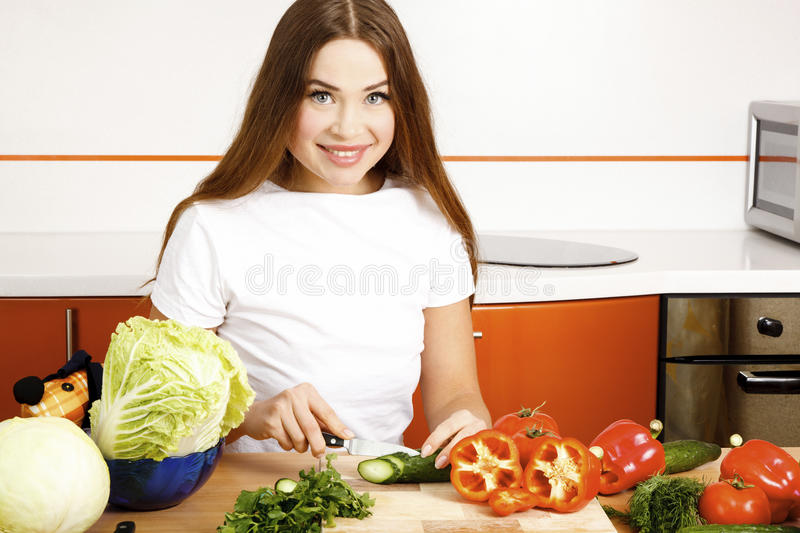 Download Preparing salad stock image. Image of housewife, gorgeous - 19162353