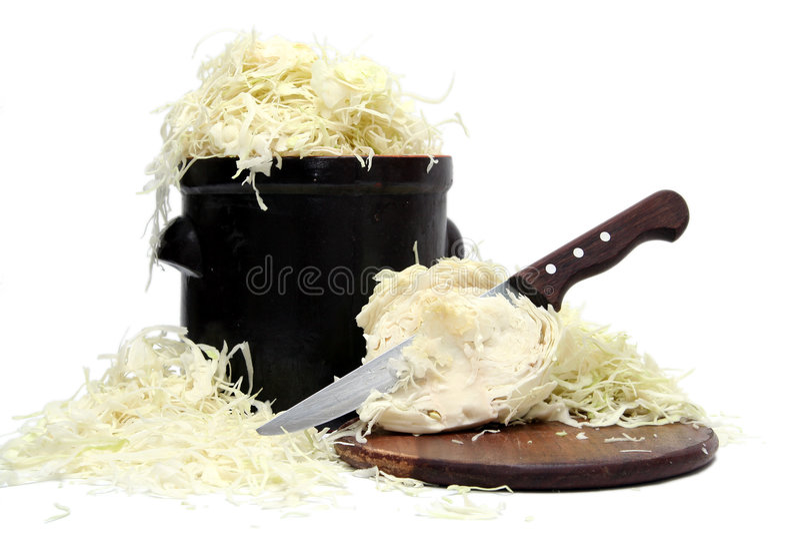 Preparing sauerkraut stock photography