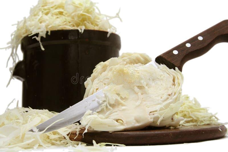 Preparing sauerkraut stock image