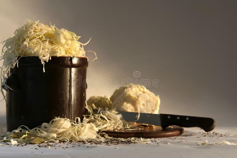 Preparing sauerkraut royalty free stock photography