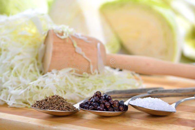 Preparing sauerkraut royalty free stock photos