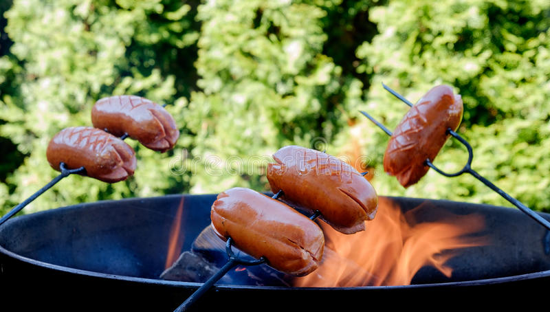 Preparing sausages on camp fire royalty free stock images