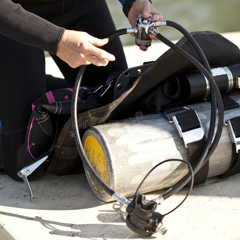 Download Preparing Scuba Gear For Use Royalty Free Stock Image - Image: 28956726