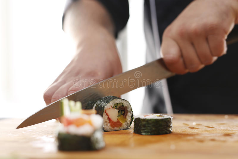 Preparing sushi royalty free stock photo