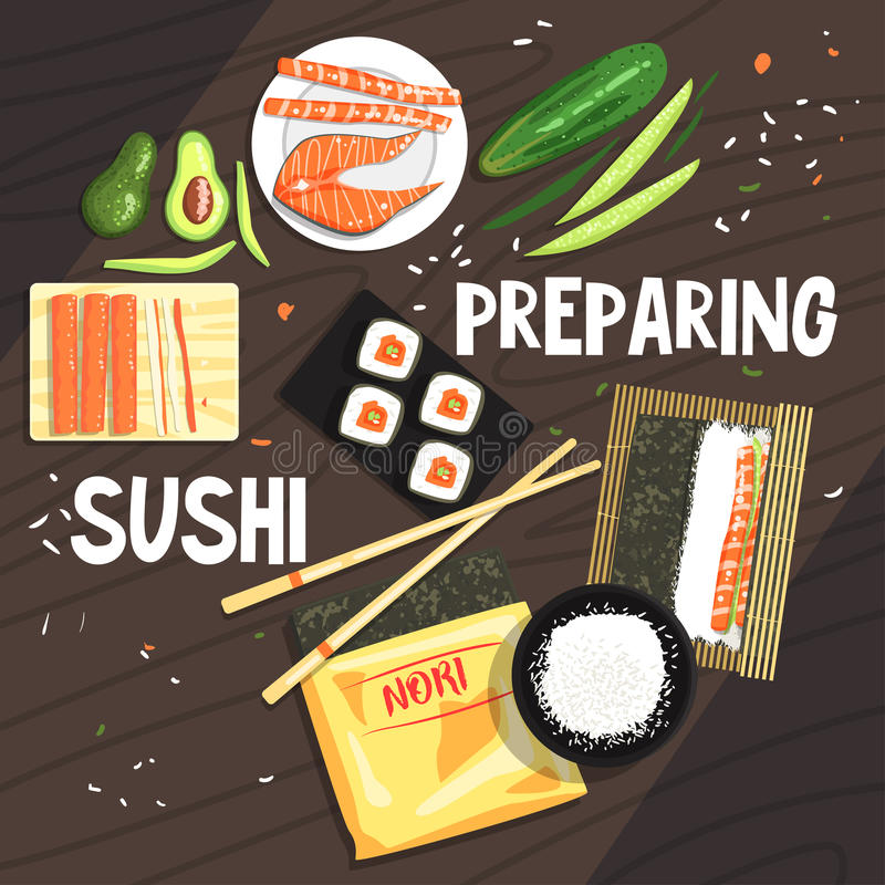 Preparing Sushi Ingredients And Technique. National Cuisine Dish Cooking Process Illustration With Text. Vector Cute Cartoon Simple Drawing royalty free illustration