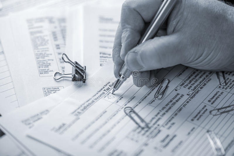 Preparing Tax Forms royalty free stock photo