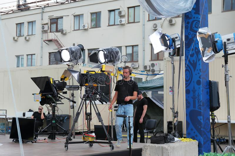 Preparing to broadcast for shooting a concert on television on a city street royalty free stock photography