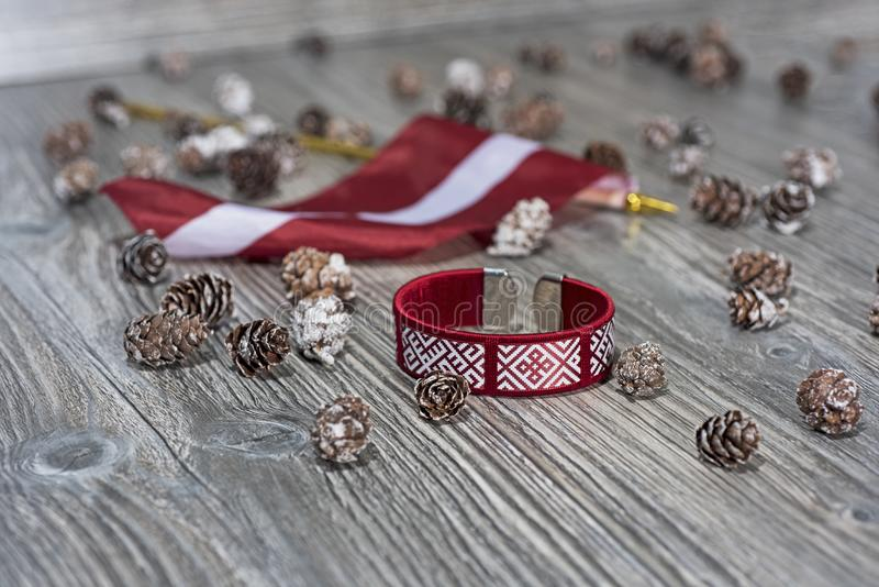 Preparing to independence day of Latvia. stock photos