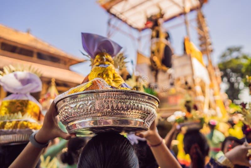 Prepation reale di cerimonia di cremazione Processione di religione di indù di balinese Offrono e simbolo del toro del nero di Le immagini stock