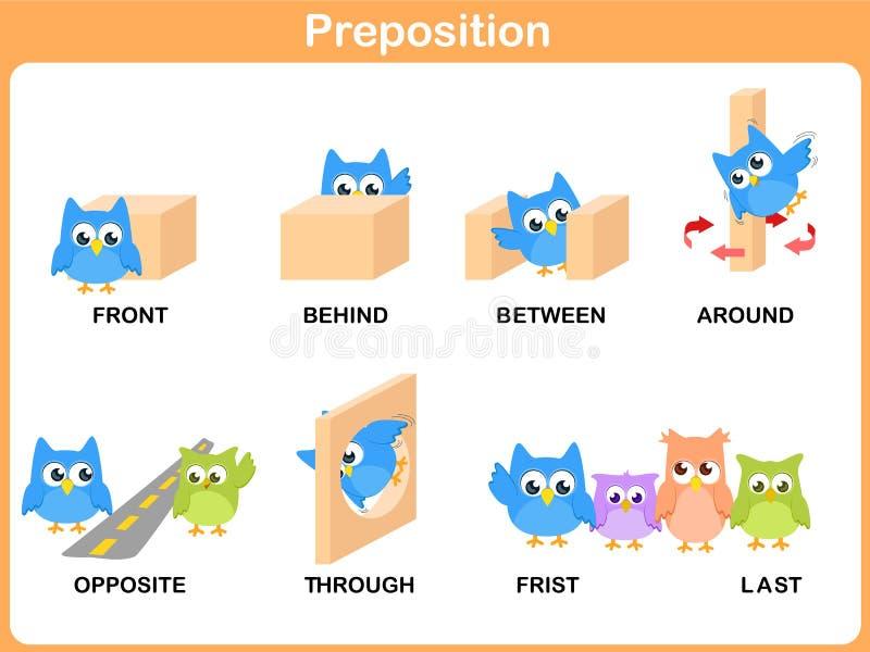 Preposición del movimiento para el preescolar stock de ilustración