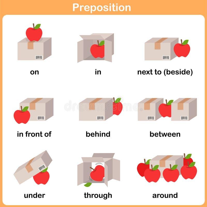 Preposition av rörelse för förträningen - arbetssedel för utbildning royaltyfri illustrationer