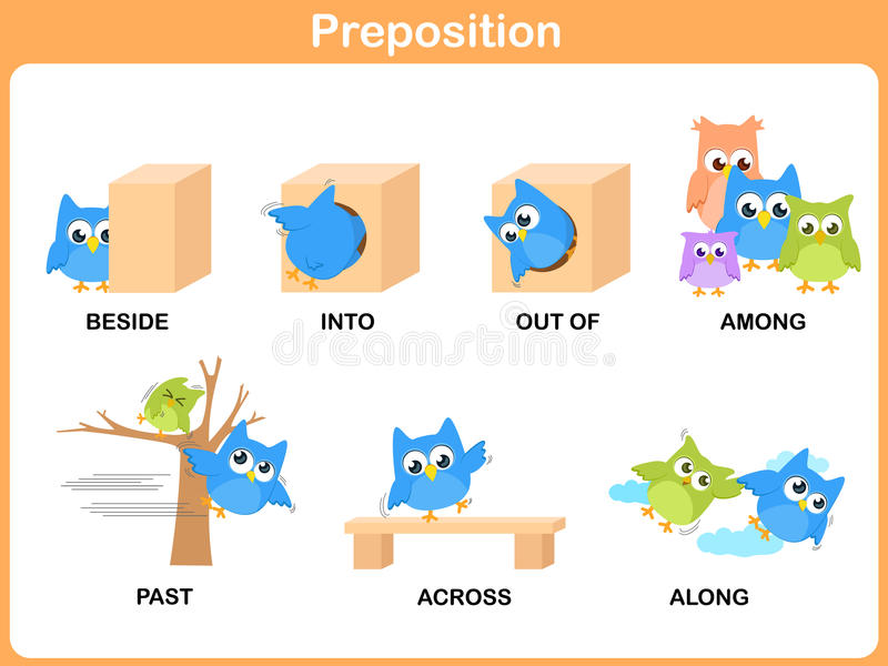 preschool prepositions preposition of motion for preschool stock vector 900