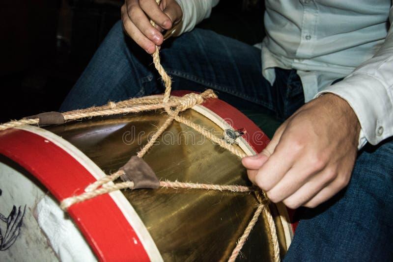 Stretching Drum Skin Pinheiro royalty free stock images