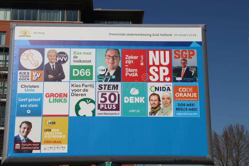 Preprinted election posters on billboard for the regional elections on march 20th 2019 in the Netherlands stock image