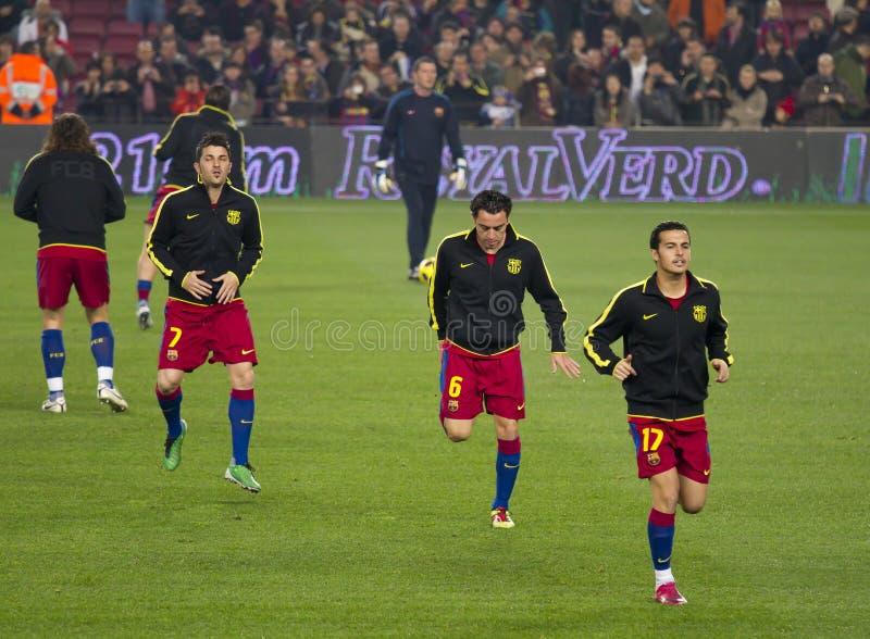 Preriscaldamento FC Barcellona fotografia stock libera da diritti