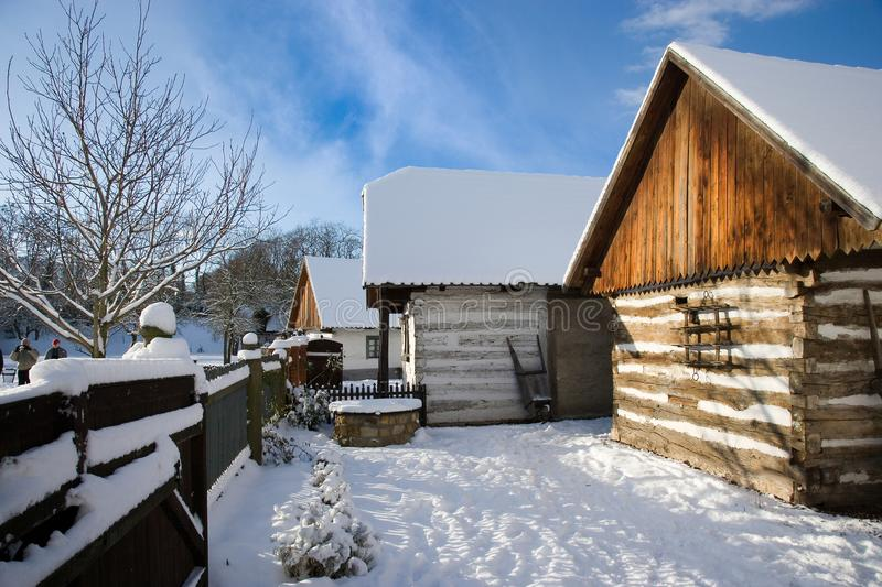 Traditional peasant architecture in open-air museum in Prerov na royalty free stock images