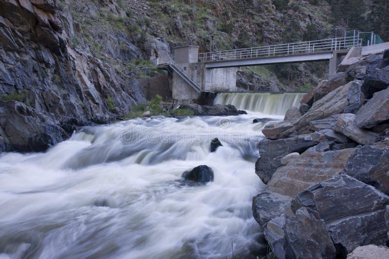 Presa de la diversión en un río de la montaña que fluye adentro profundamente, fotografía de archivo libre de regalías