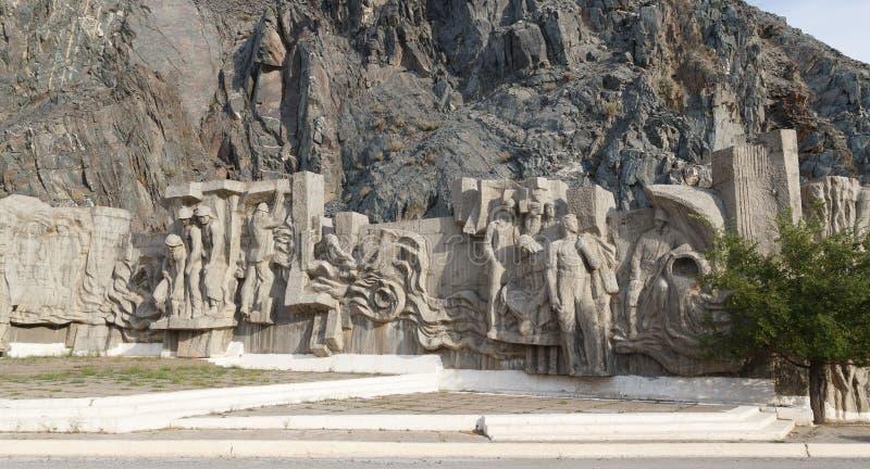 Presa del depósito de Kirov de los constructores de Bas Construido 1965 - 1975 Talas del valle, Kirguistán fotos de archivo libres de regalías