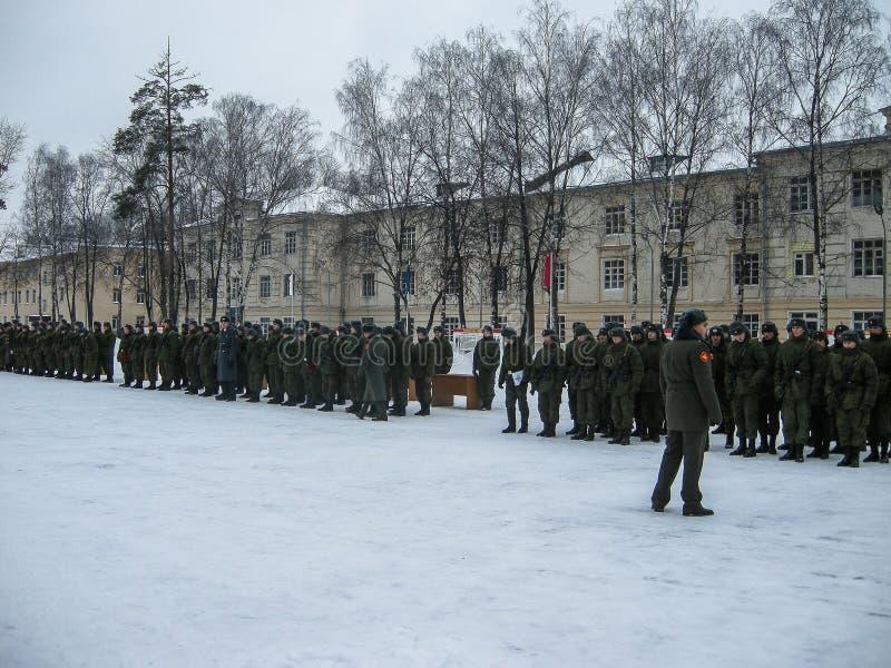 Presa del giuramento nell'unità militare russa nella regione di Kaluga fotografie stock libere da diritti