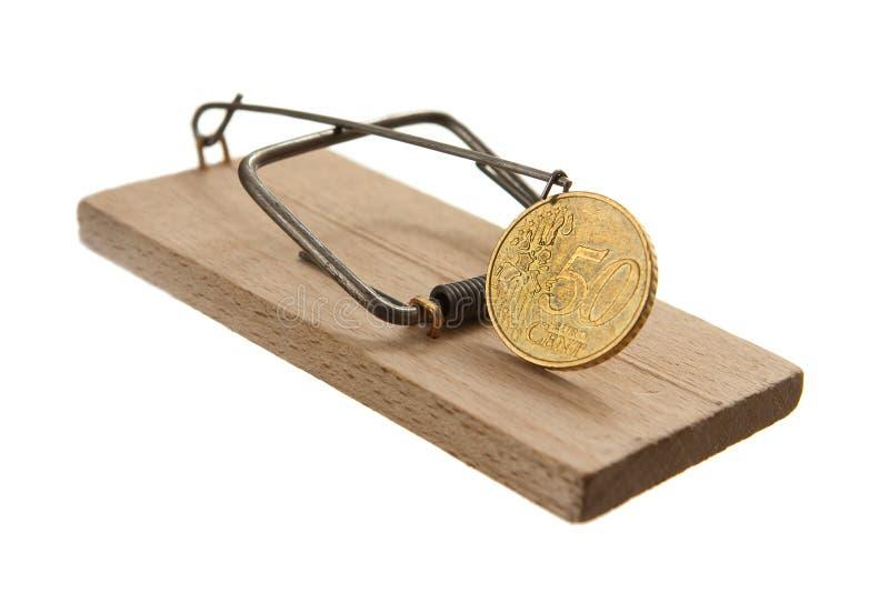 Presa del mouse con l'euro moneta del centesimo immagine stock