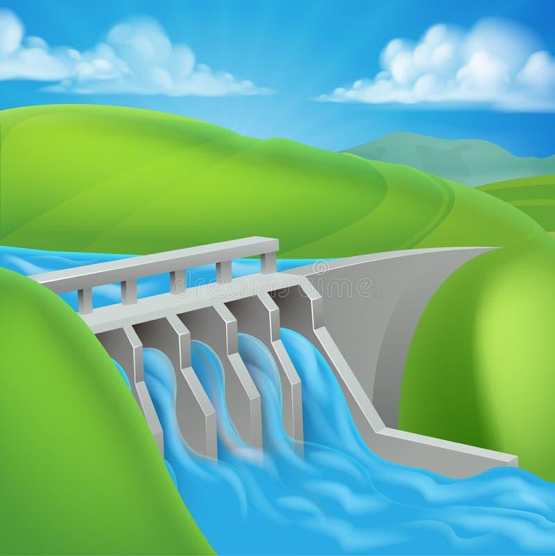 Presa del poder hidroeléctrico que genera electricidad stock de ilustración