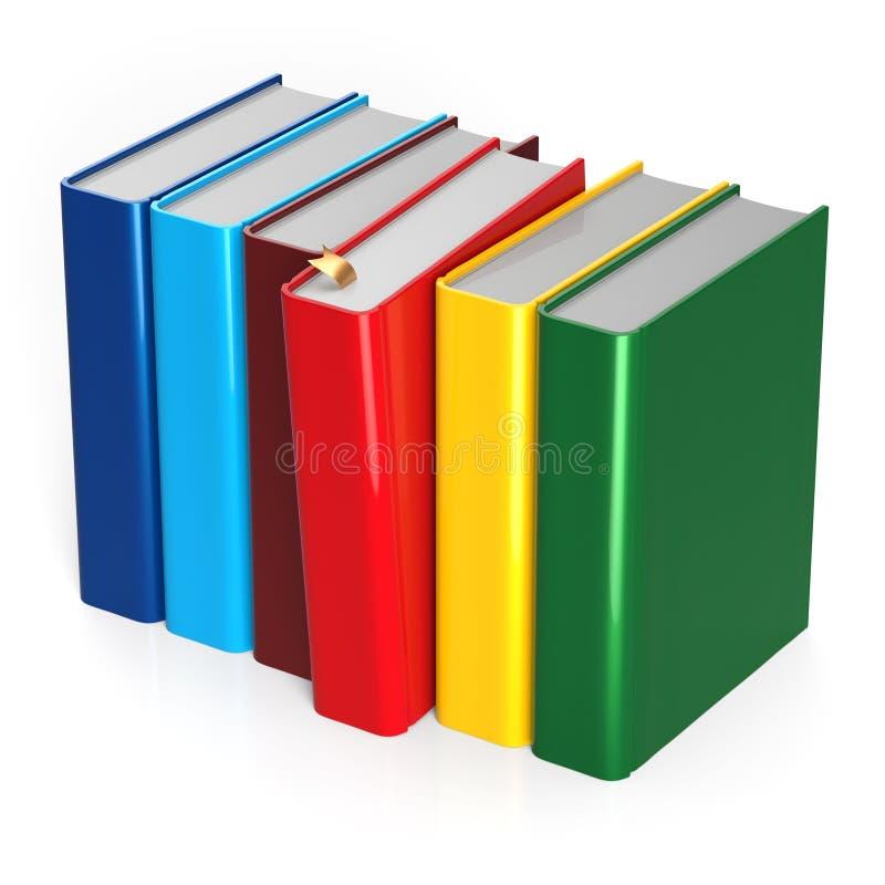 Presa di selezione rossa variopinta di fila choice dei libri che sceglie spazio in bianco illustrazione vettoriale