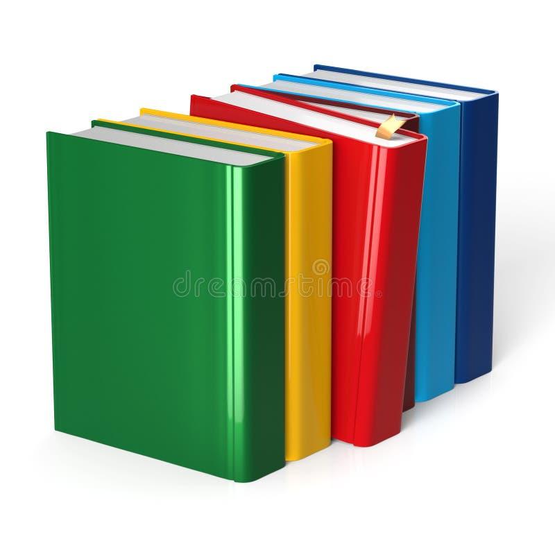 Presa di selezione rossa variopinta di fila dei libri che sceglie copertura in bianco illustrazione di stock