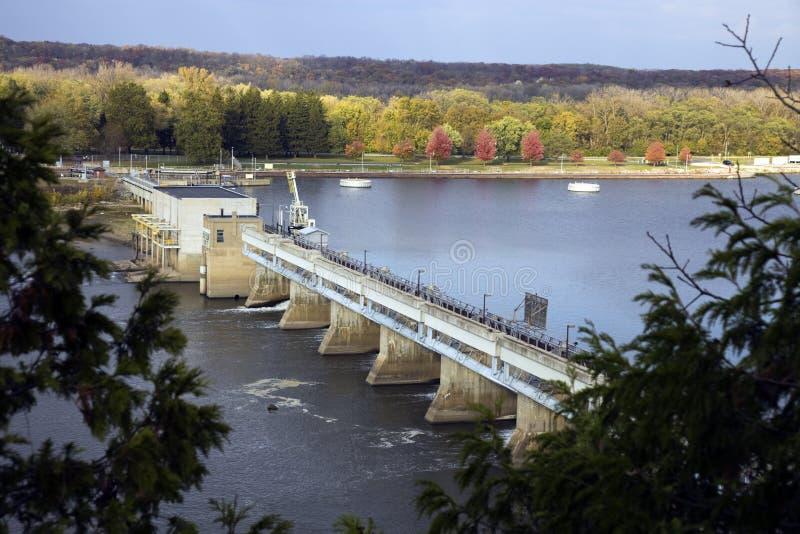 Presa En El Río De Illinois Imagen de archivo libre de regalías