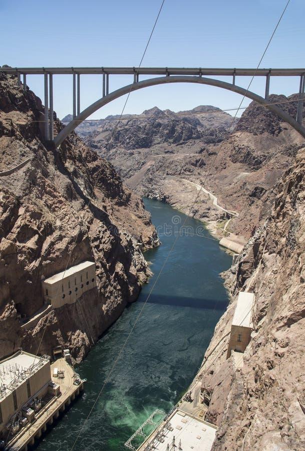 Presa Hoover Frontera entre los estados de Nevada y Arizona, los E.E.U.U. fotos de archivo