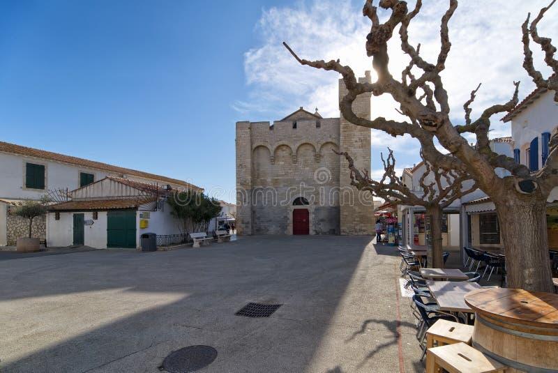 Presbyteriaanse Kerk van Saintes Maries DE La Mer - Camargue - Frankrijk royalty-vrije stock foto's